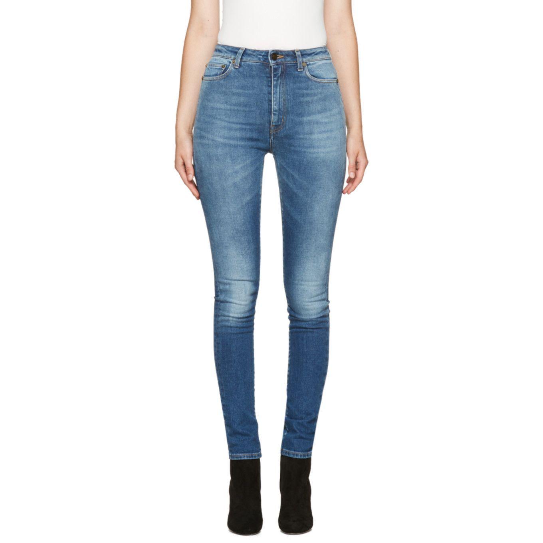Blue high waisted skinny jeans Saint Laurent Sale 100% Guaranteed vAVmVR1Y5C