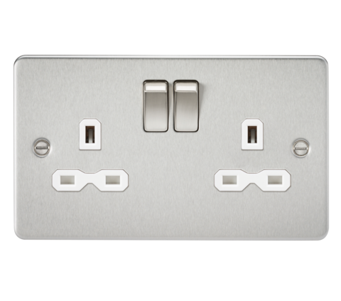 Knightsbridge Fpr9000bcw Flat Plate 13a 2g Dp Switched Socket Brushed Chrome With White Insert With Images Plates On Wall Wall Mounted Fan Sockets