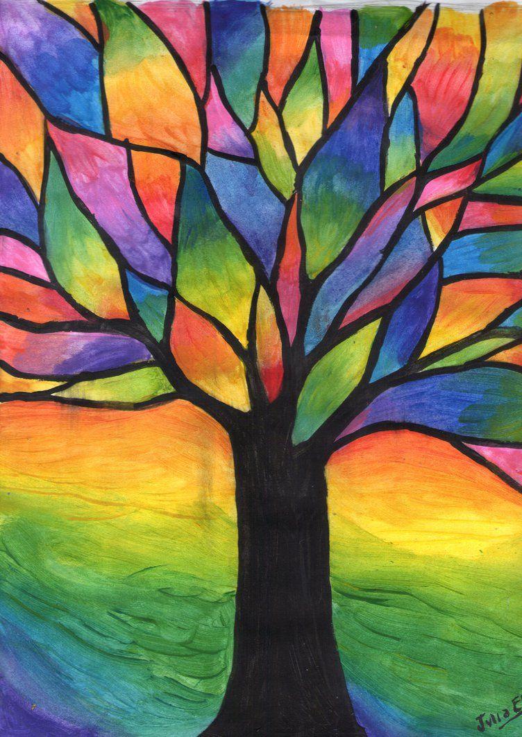 Arbol De Colores Oil Pastel Art Abstract Art Painting Art Drawings Simple