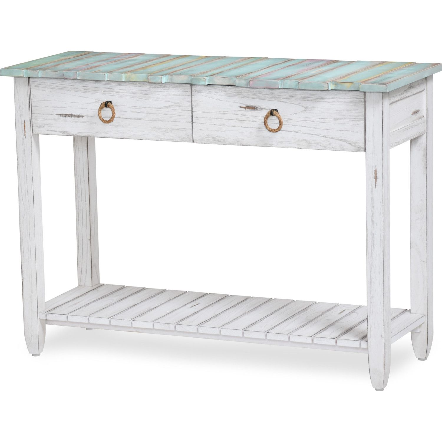 Sea Winds Picket Fence Console Table Distressed Blue White Console Table Table Furniture