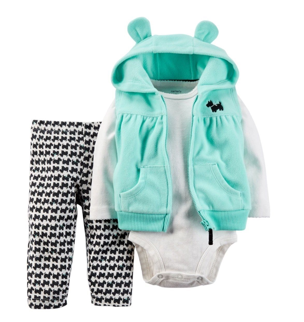 NEW NWT Boys Carter/'s 3 Piece Fleece Cardigan Set 3 or 6 Months Puppy