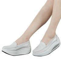 spring genuine leather mother casual woman shoes swing