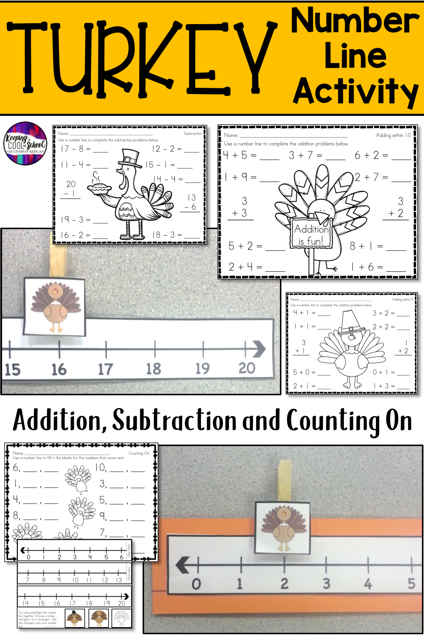 Turkey Math Activity For Number Lines