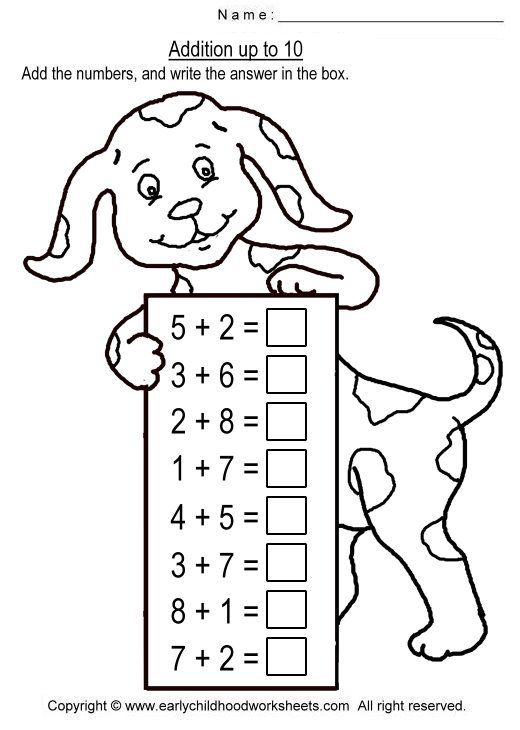 Image Detail For To Print This Worksheet Click Addition Up To 10 Worksheet Math Addition Worksheets Kids Math Worksheets Math Worksheets