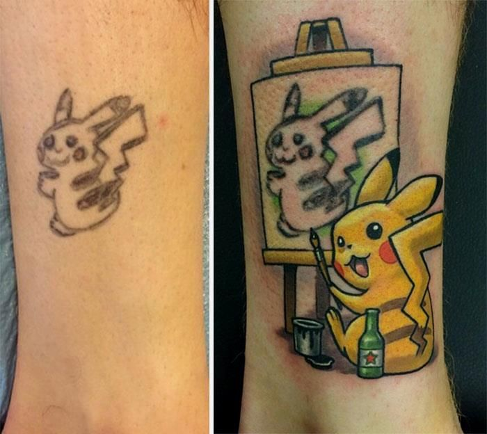 7 Awesome Before And After Photos That Will Solve Your Bad Tattoo Problems Cover Tattoo Pikachu Tattoo Cover Up Tattoos