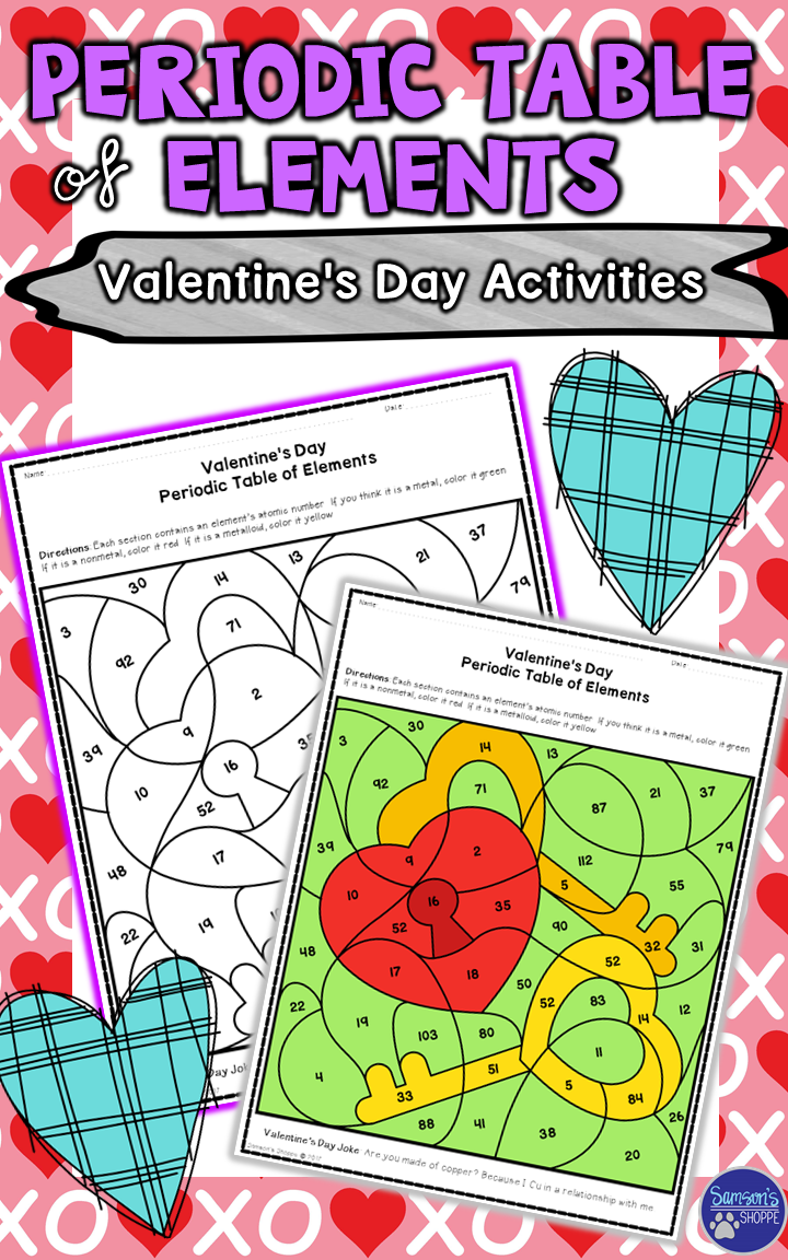 Periodic table of elements valentines day review activity this physical science holiday resource is a great reinforcement for atoms and the periodic table of elements included are three coloring sheets that will urtaz Gallery