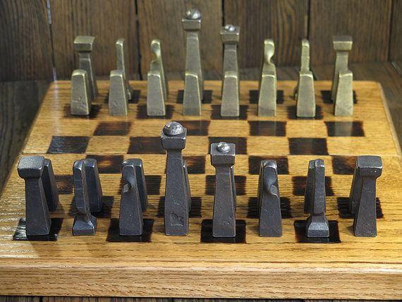 projects ideas metal chess pieces. Blacksmith Chess Set  Metal Collectible Pieces Client Gifts Table Art Office D cor Rustic Industrial sets