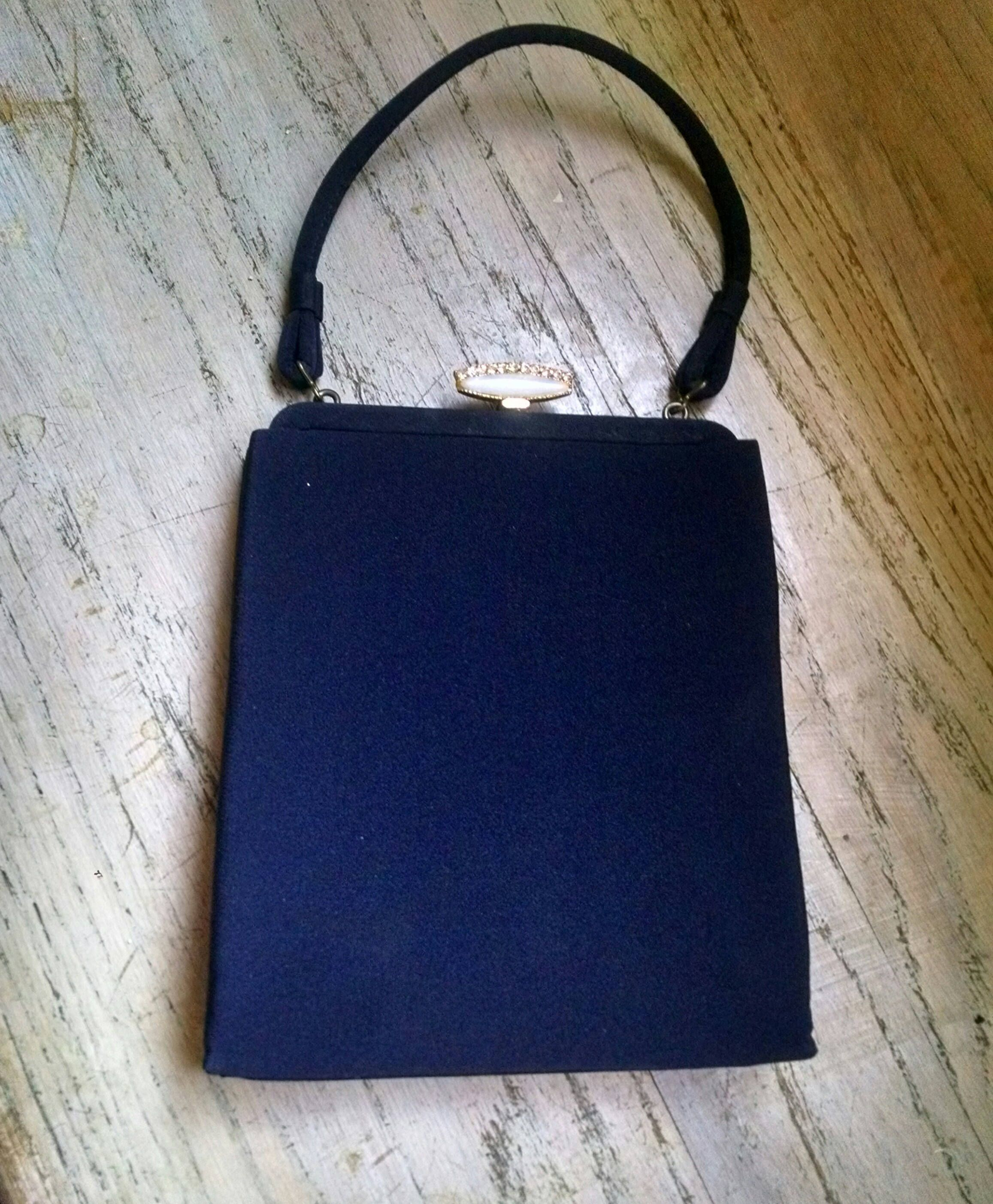 Navy Blue Purse Handbag Pearlized Closure Vintage Wedding Accessories Mid Century Waldorf 1950s Gift Guide Women