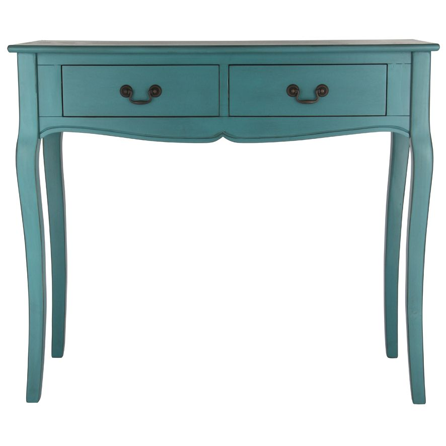 Elegant Antique Blue/Green 2 Draw Console Table