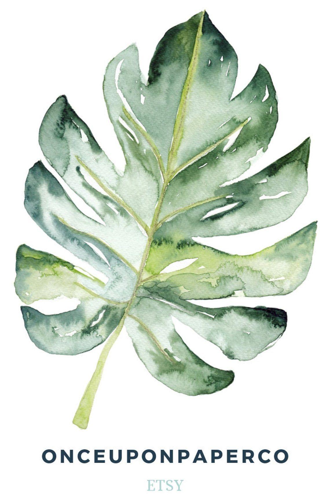Usine de feuille aquarelle print, impression numérique d'art mur Monstera, peinture botanique avec une ambiance tropicale, oeuvre imprimable d'une plante d'intérieur