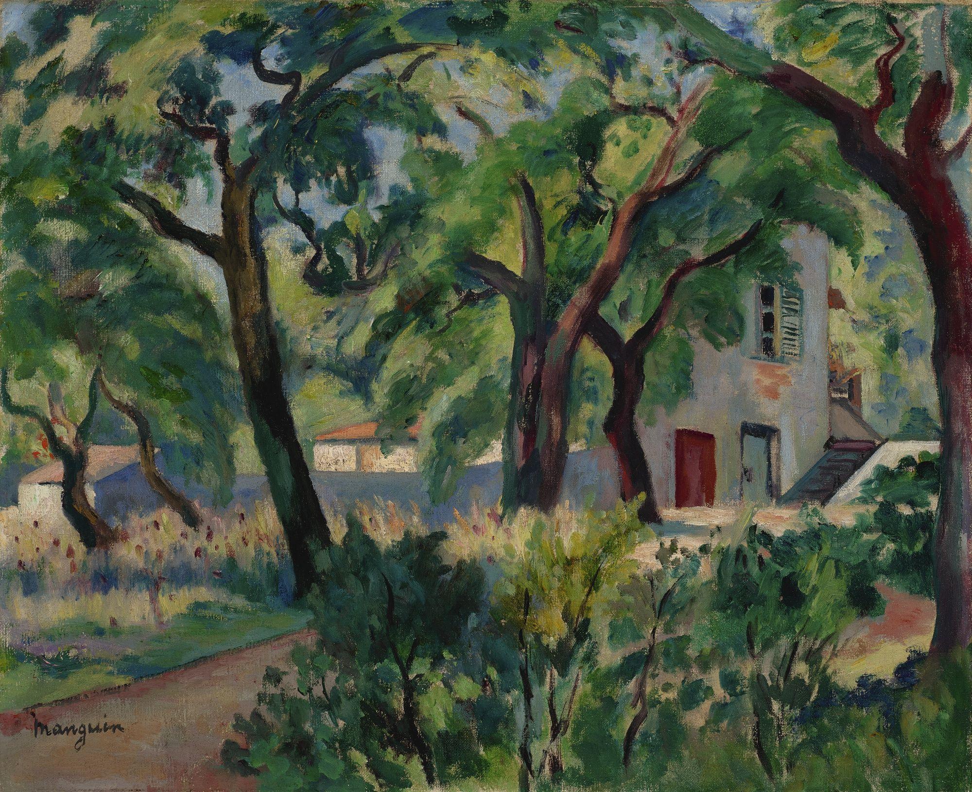 Henri Manguin (1874 - 1949)LA MAISON DANS LA FORÊT, SAINT-TROPEZSigned  Manguin (lower left)Oil on canvas   Art day, Painting, Latin american art