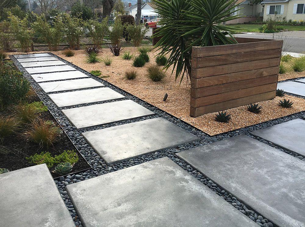 Mexican Pebbles Between Concrete Pavers Modern San Rafael Landscape Transformation C Dig Your Ga Mediterranean Plants Pebble Landscaping Modern Landscaping
