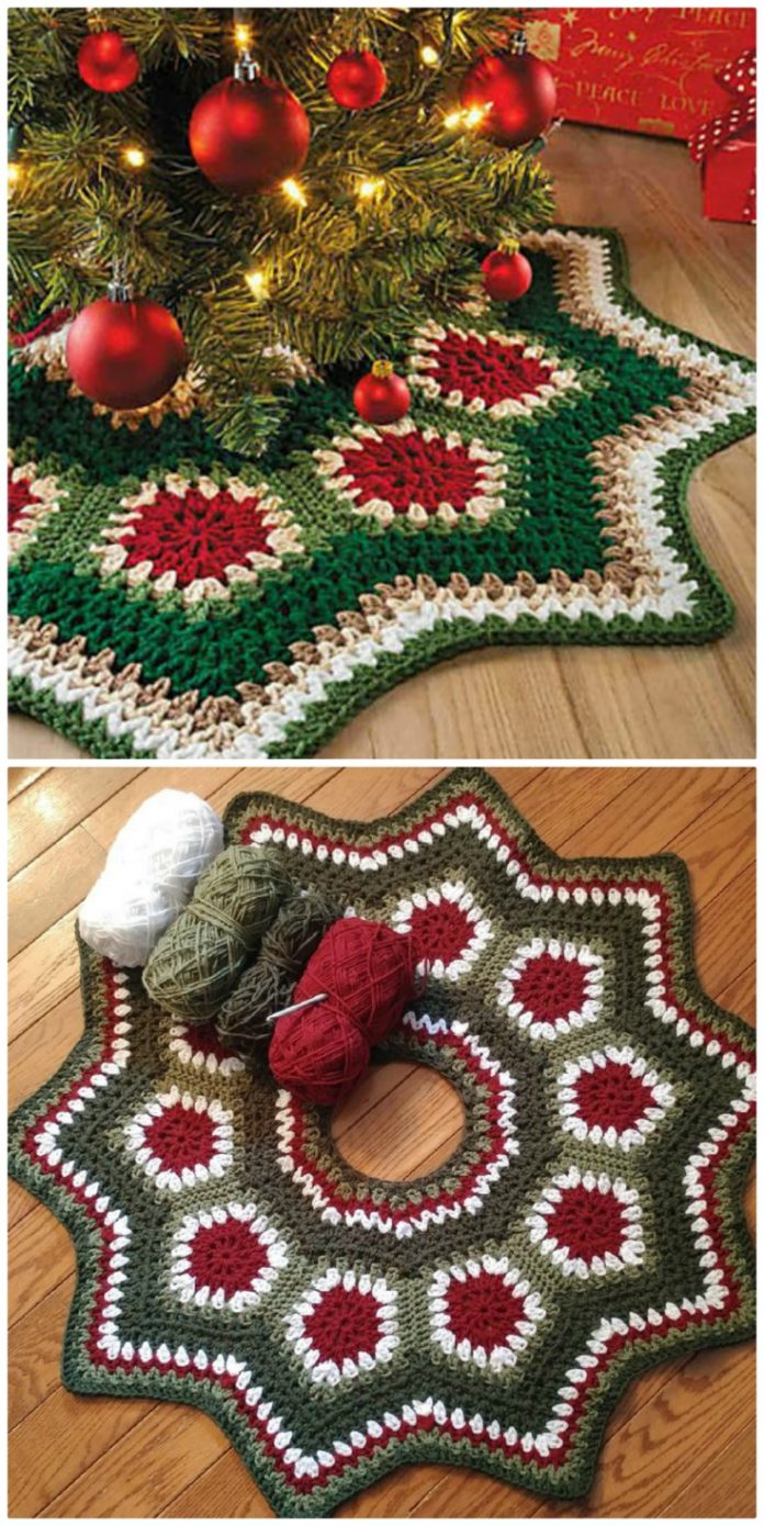 Crochet Christmas Tree Skirt Patterns | The WHOot The WHOot #stricken