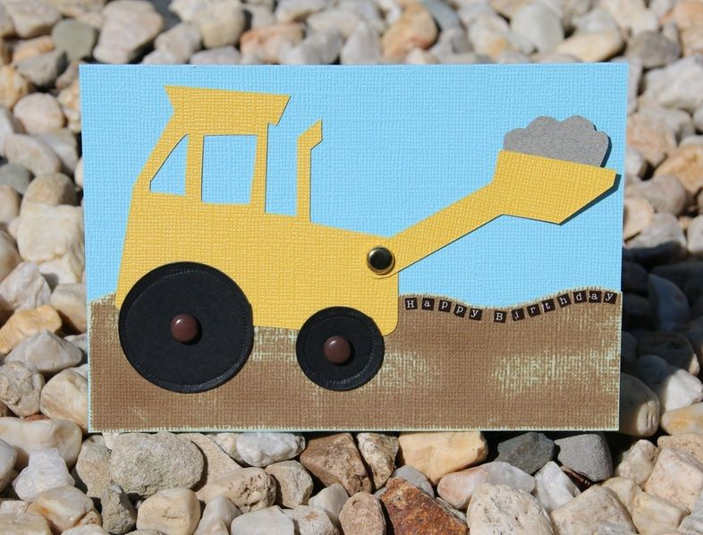 Digger Happy Birthday Card With Printable Template And Instructions Birthday Cards Cards Birthday Card Printable