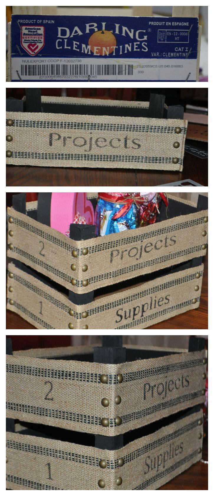 Upcycle Orange Crate into Stackable Burlap Bins #burlap #upcycle