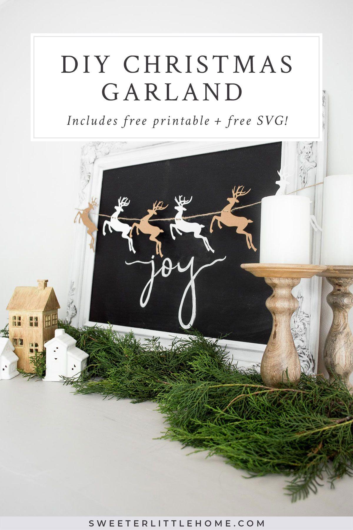 Free Christmas Printable Diy Reindeer Garland Christmas Free