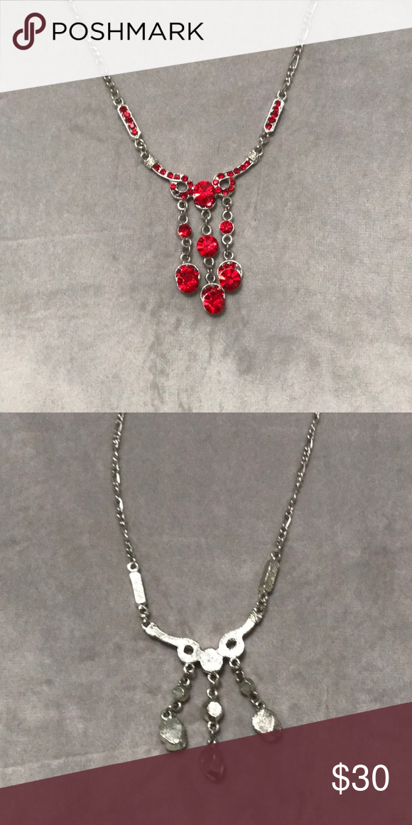 1cf95e598f1e Silver formal necklace with red rhinestones Silver formal prom necklace  with red rhinestones Jewelry Necklaces