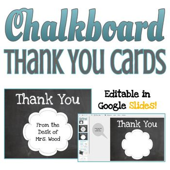 Chalkboard Theme Thank You Cards Editable In Google Slides Chalkboard Theme Thank You Cards Your Cards