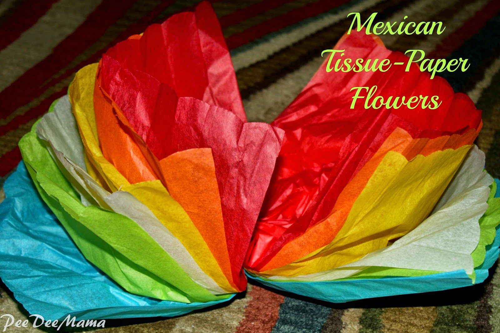 Take six sheets of tissue paper and fold them like a fan tales of a pee dee mama mexican tissue paper flowers mightylinksfo