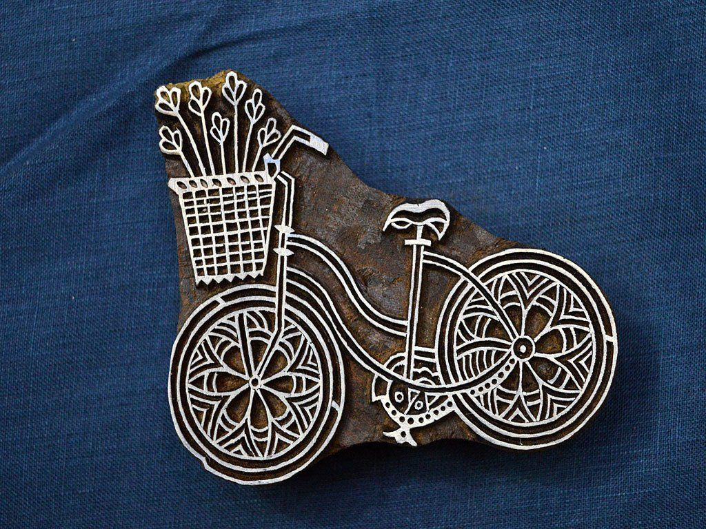 Bicycle Stamp Block, Block Printing Wooden Stamp - Hand Carved Indian Wood Block Textile Stamps - Fabric Stamp - Stamp Blocks #fabricstamping