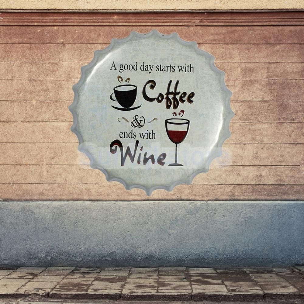 Vintage coffee wine metal tin sign plaque wall decor bottle cap