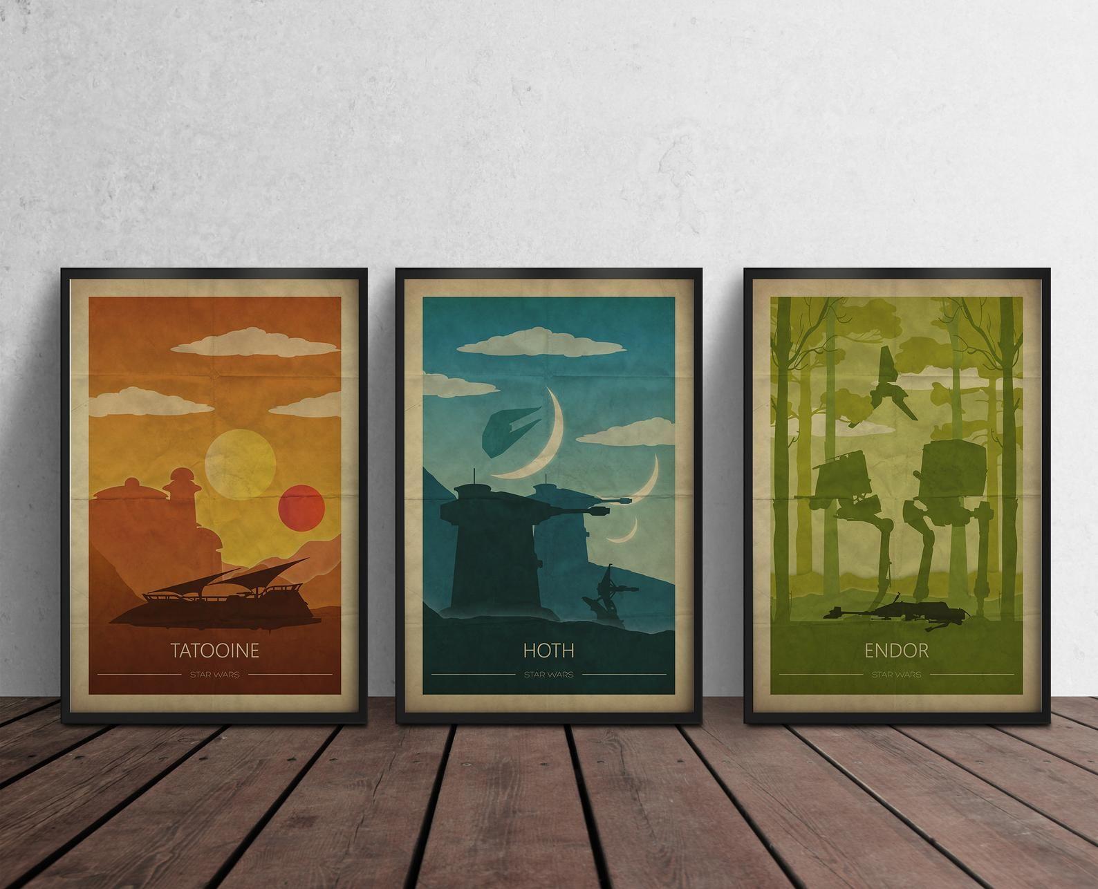 Star Wars Poster Wall Art Decor Print Gift Tatooine Endor Hoth Etsy Wall Art Decor Prints Star Wars Nursery Art Poster Wall Art