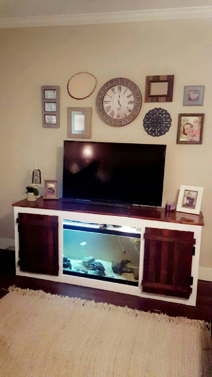 Tv Stand Home Decor Wall Decor Fish And Turtle Tank Diy  # Aquarium Meuble Tv