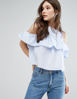 £18 QED London Frill Detail Stripe Top