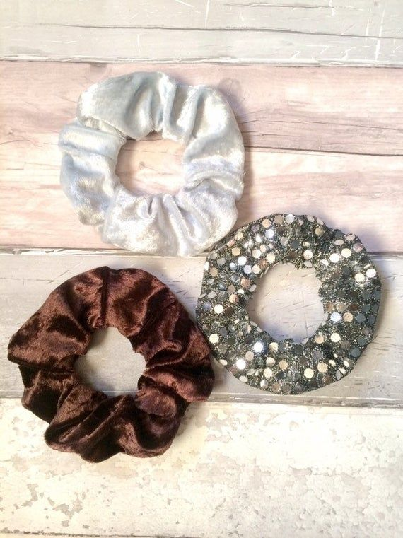 3 Pack hair Scrunchies velvet bling silver duck egg chocolate brown hair scrunchie bobble hair tie messy bun #hairscrunchie