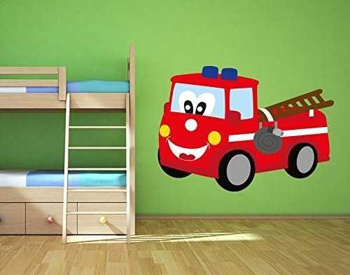 Wandsticker Süßes Feuerwehrauto Von Klebefieber. Ein Toller Wandaufkleber  Für Kinderzimmer Und Babyzimmer. Ein Wandtattoo