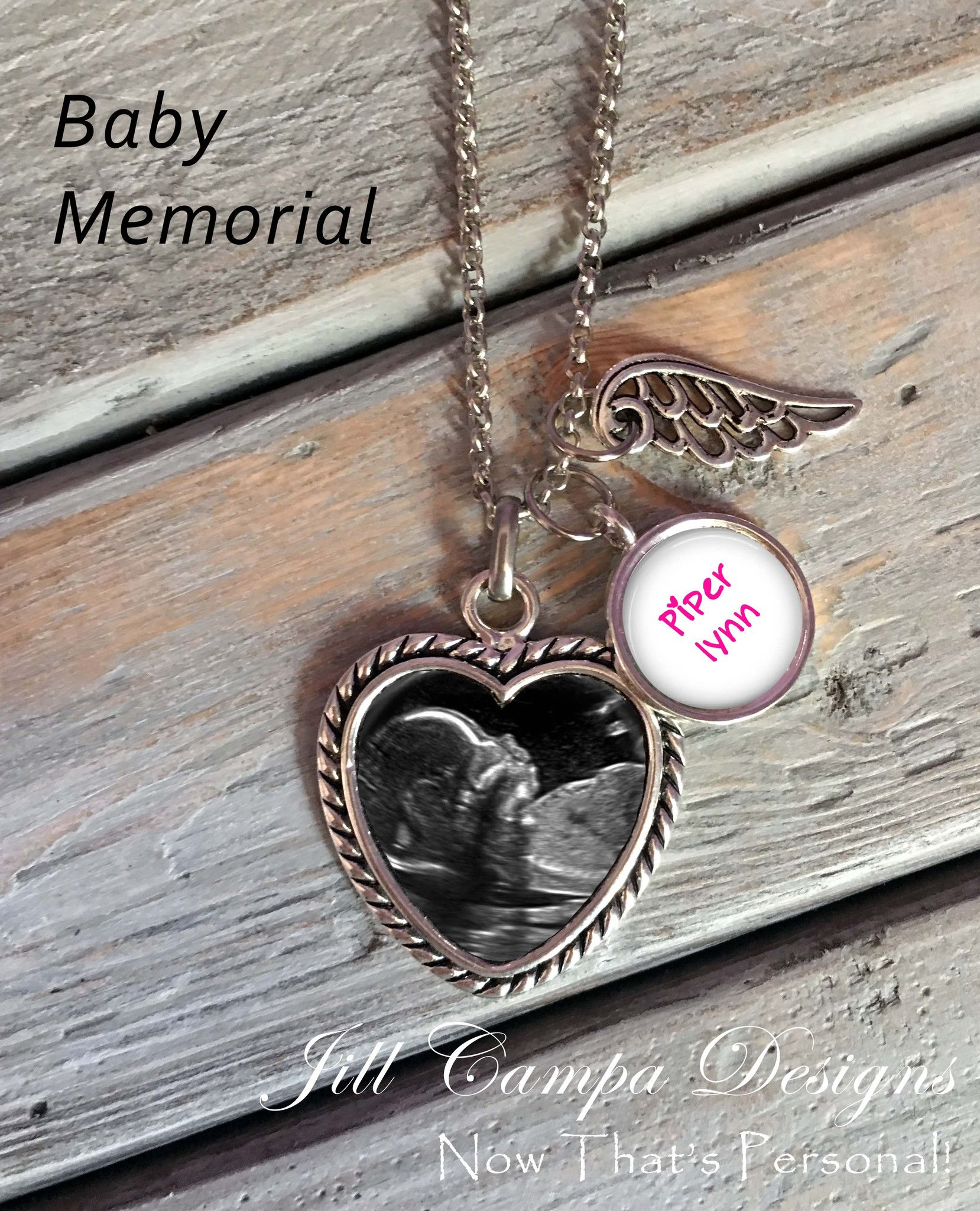 Beautiful keepsake memorial necklace with your babys sonogram or baby memorial necklace loss of baby sonogram necklace heart pendant angel wings baby name charm miscarriage jewelry angel baby by aloadofball Gallery