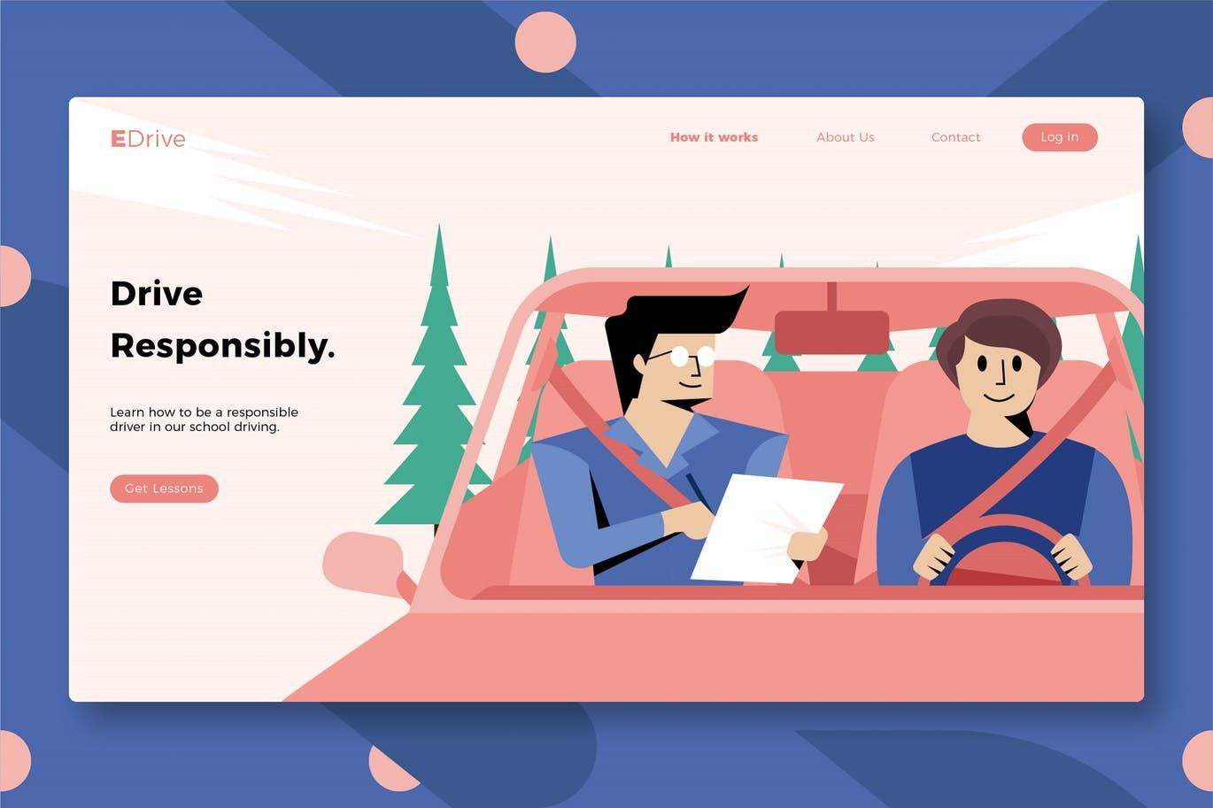 Driving school banner landing page by aqrstudio on