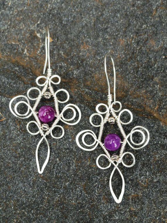 Handmade dangle earrings playful scroll design by Dreswireddesigns, $16.00