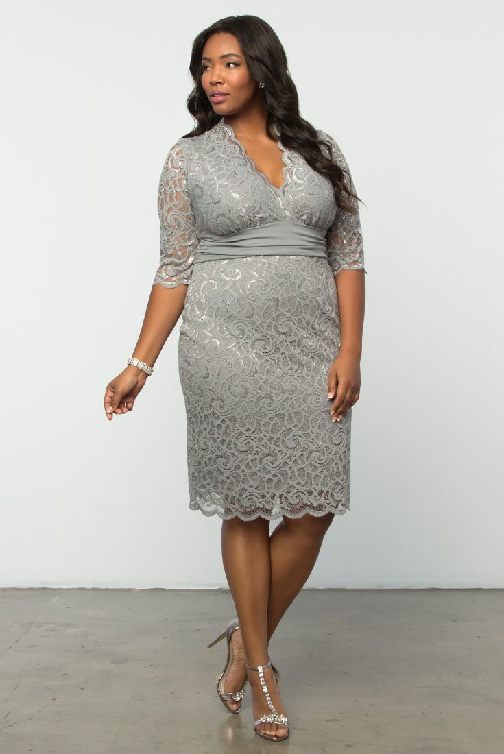 52e119e9775 Forget your basic colors and RSVP to a special occasion in a gorgeous  silver style like our plus size Lumiere Lace Dress. Shop our entire made in  the USA ...