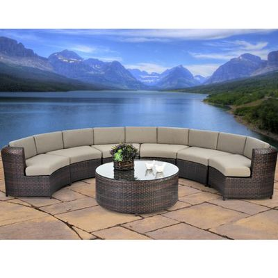 Outdoor Sectionals Patio Furniture Patio Seating Sets Patio Seating Outdoor Wicker Seating Semi circle patio furniture