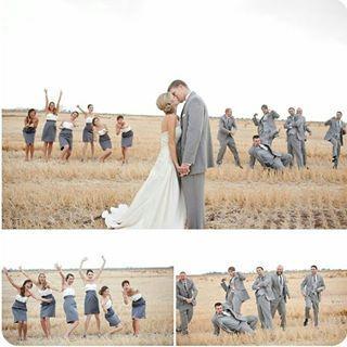 Richtig coole Hochzeitsfoto Idee mit den Trauzeugen Brautjungfern groomsmen braut