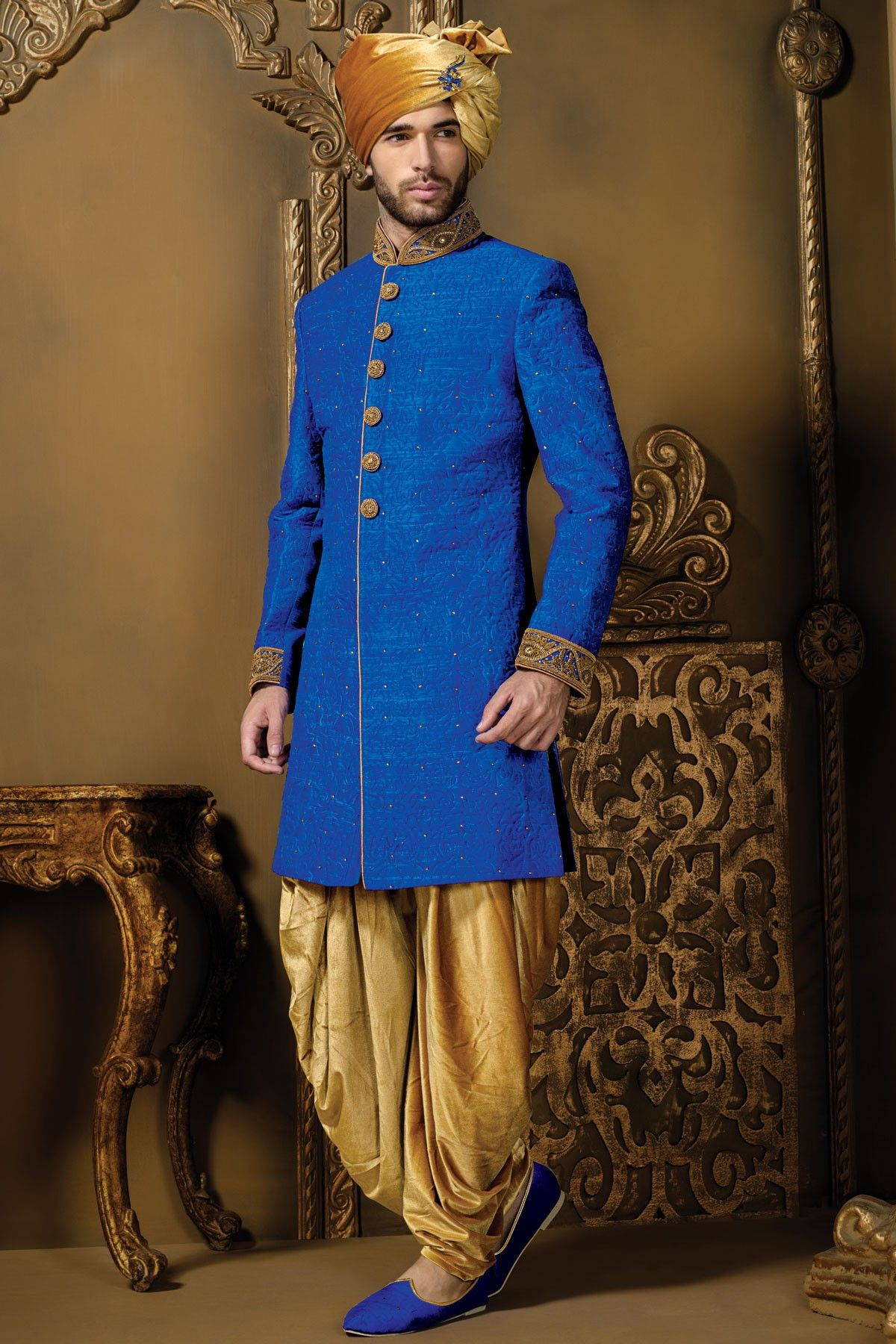 Royal blue u gold self embossed silk suave sherwani with mandarin