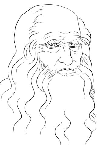 Leonardo Da Vinci Self Portrait Coloring Page From Leonardo Da