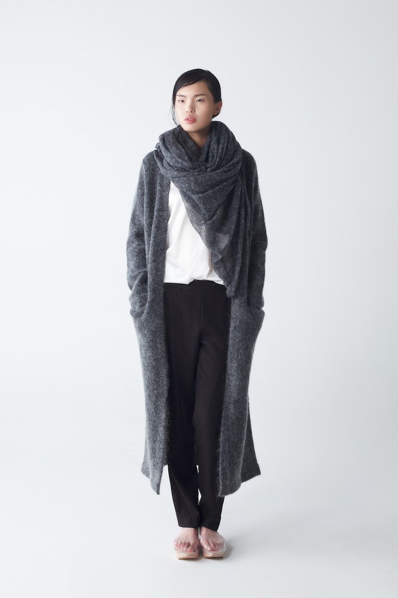 Efron Mohair Cardigan with Ora Knit Scarf Anthracite