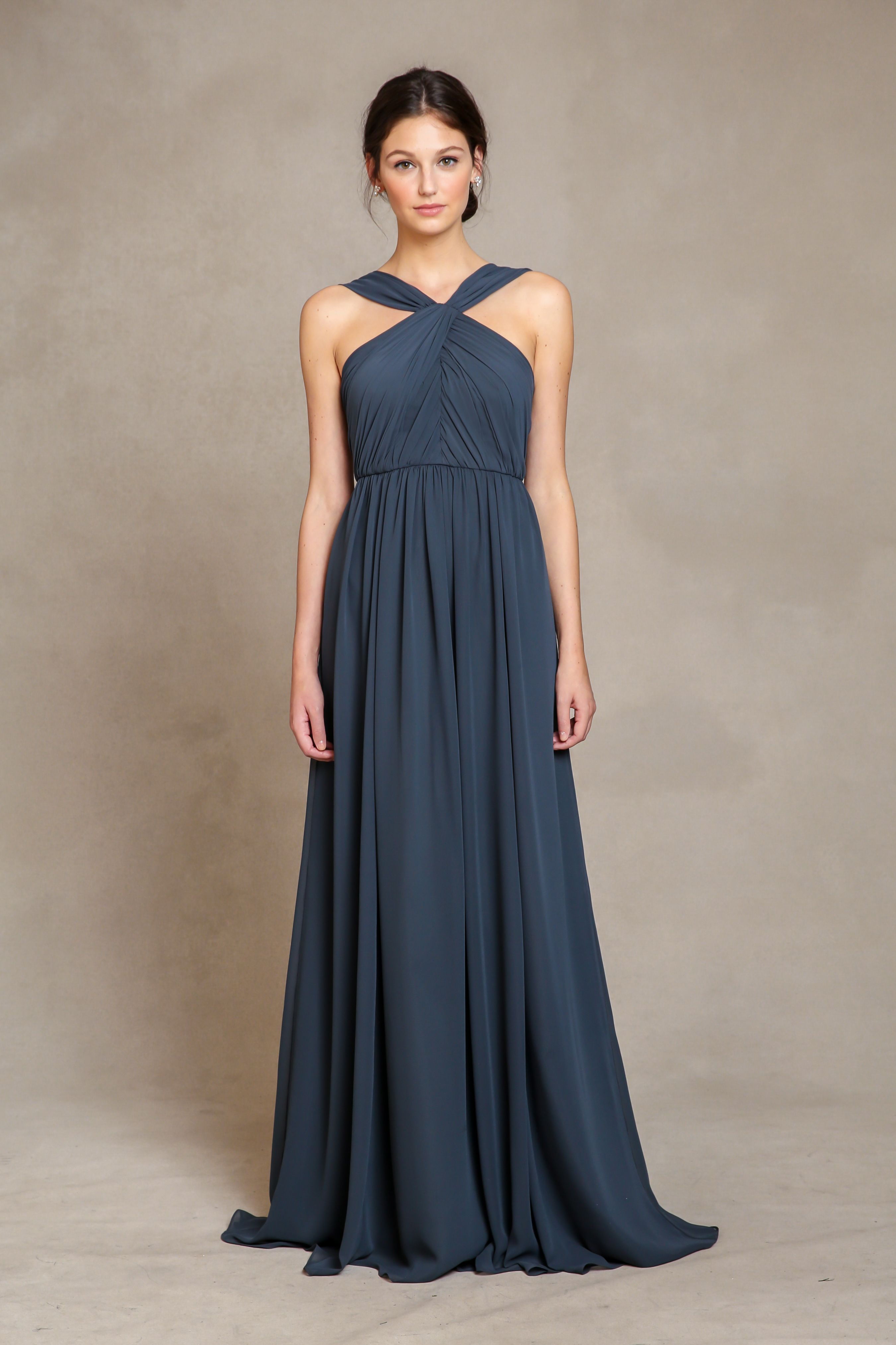 03ac7b7c4966d JACQUELINE Jenny Yoo $280.00 The Jacqueline features a halter neckline with  a natural waistline. Skirt is A-line and is floor length.