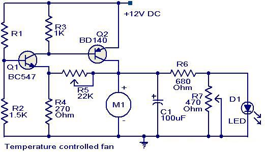 Temperature Controlled Fan Circuit Diagram