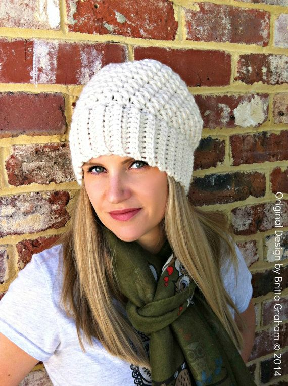 Ribbsta Hat Pattern for women using chunky yarn - Slouchy Beanie Crochet  Pattern No.230 Digital Download c6f20ad54