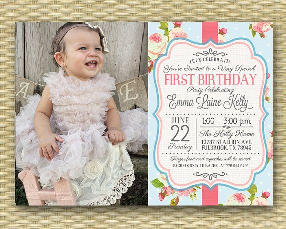 1st Birthday Invitation Shabby Chic Tea Party Floral Roses First