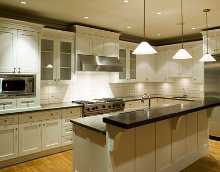 White cabinets.