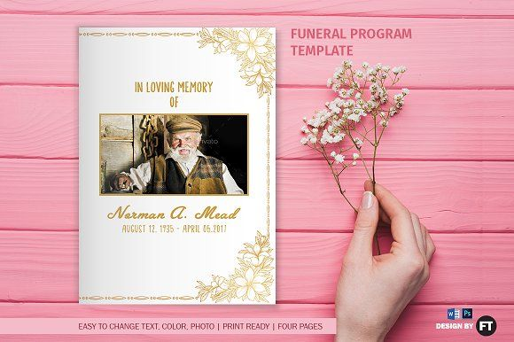 Funeral Program Template - Golden by Madhabi Studio on - funeral program templates free downloads
