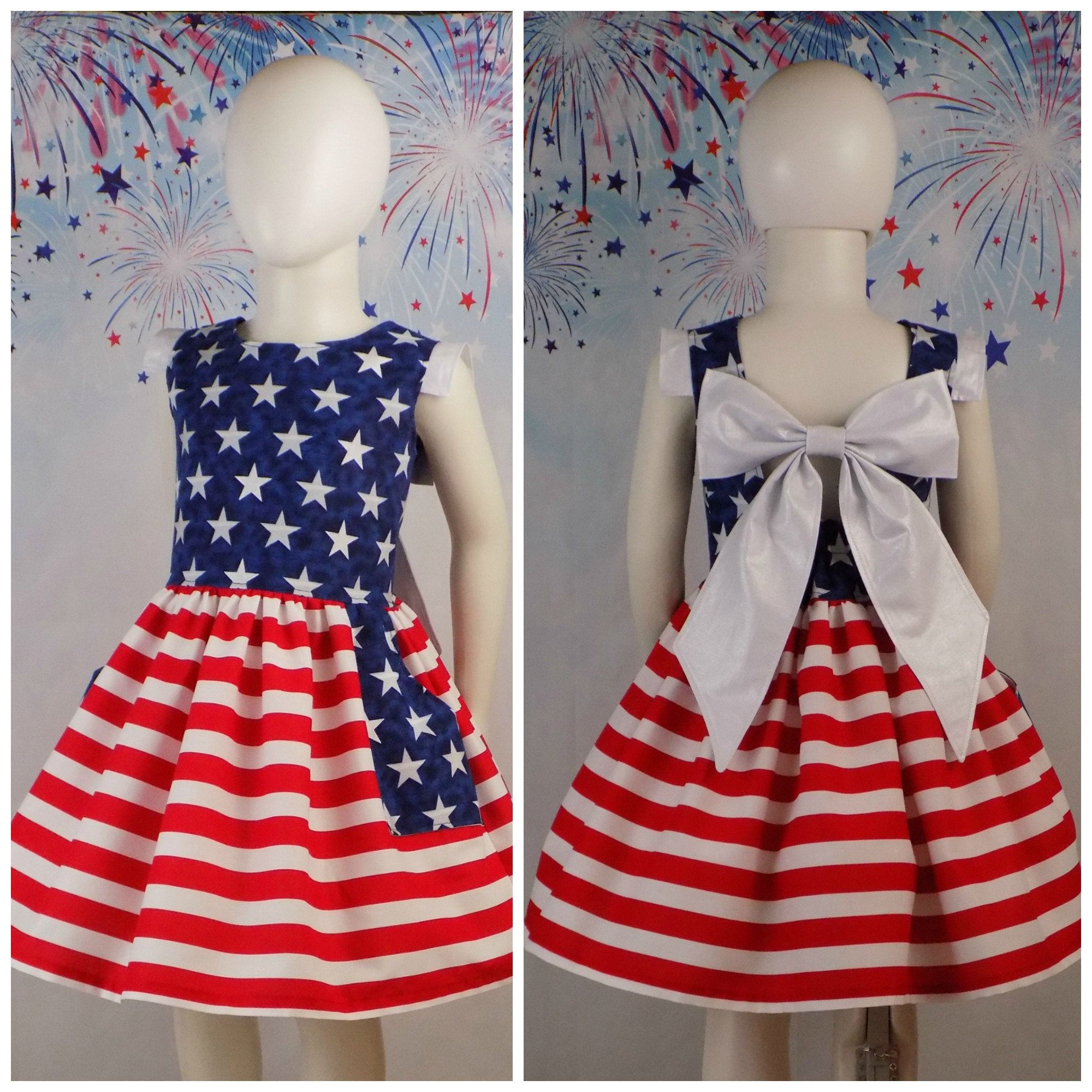 girls toddler children dress pants 4th of july outfit star stripe patriot sz 7