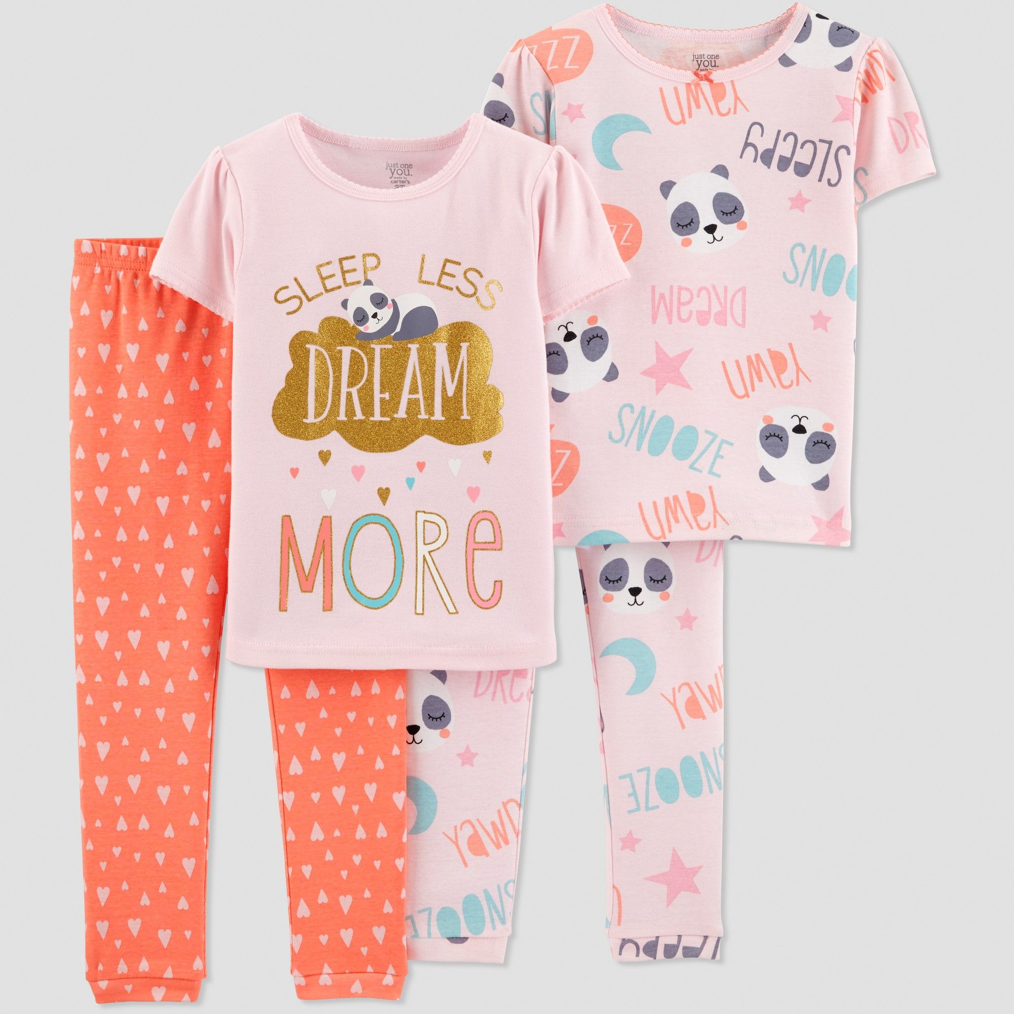 2270cfcc9f Toddler Girls  4pc Dream More Panda Pajama Set - Just One You made by carter s  Pink 5T