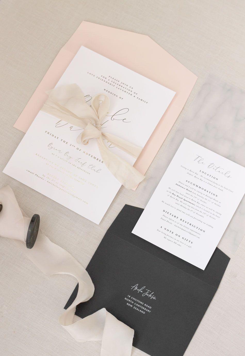 Just My Type Wedding Invitation Stationery Nz Blush Pink Gold Foil Marb Wedding Invitations Stationery Wedding Invitations Wedding Invitations Modern Chic