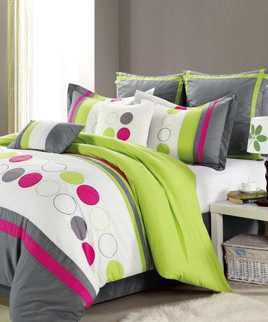 Grey, Hot Pink, White and Neon Green Comforter Set by Chic Home