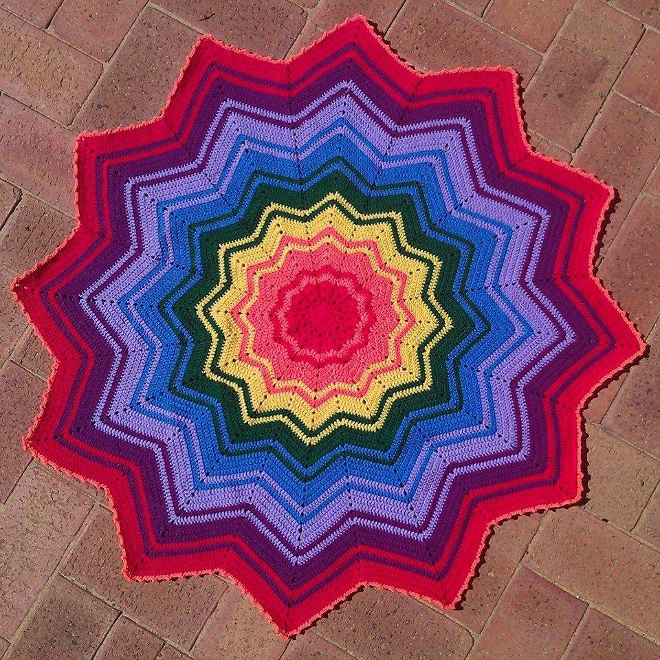 Rebecca Dobbe made this beautiful round rainbow! #Stylecraft ...